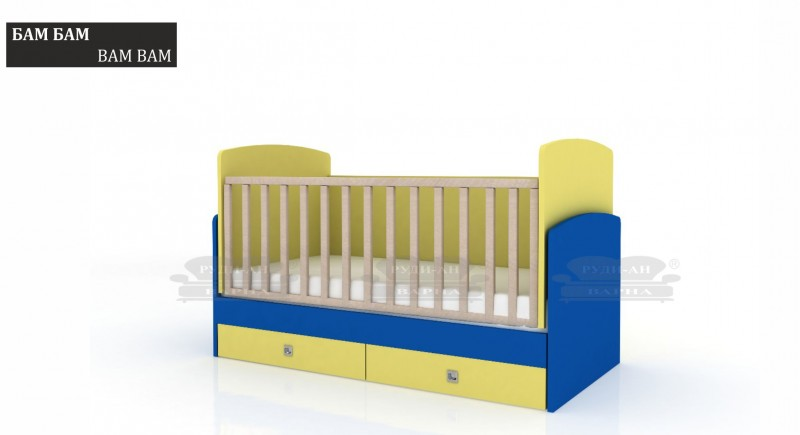 Baby cot bed BAM BAM with a swing mechanism